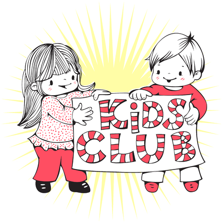 kids club: Illustration on the theme of kids club with a little girl and boy. Hand-drawn illustration. Vector.