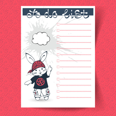 to do list: To do list with funny Bunny. Hand-drawn illustration. Vector.
