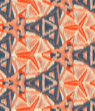 gobelin tapestry: Seamless Ikat Pattern with a geometrical ornament. Abstract  background for textile design, wallpaper, surface textures, wrapping paper.