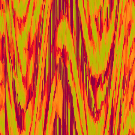 Seamless Ikat Pattern with red and green waves. Abstract  background for textile design, wallpaper, surface textures, wrapping paper.