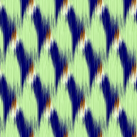 gobelin tapestry: Seamless Ikat Pattern with blue and green rhombuses. Abstract  background for textile design, wallpaper, surface textures, wrapping paper.