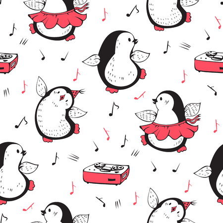 Seamless pattern  with a dancing penguins and a tape recorder. Hand-drawn illustration. Vector.