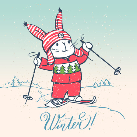 title emotions: Winter illustration with the cartoon funny Bunny on skis. Vector.