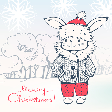 winter tree: Greeting Card Merry Christmas! with a cartoon Bunny. Hand-drawn illustration. Vector.