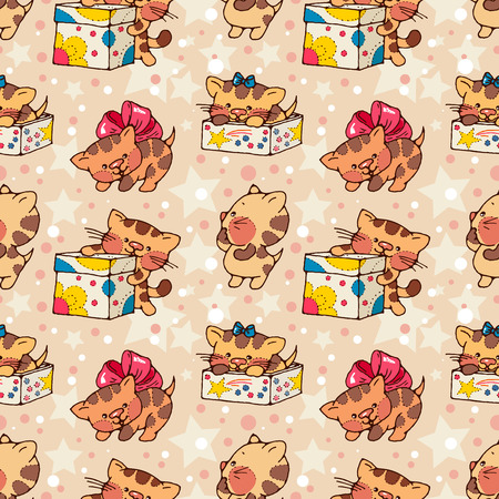 kittens: Seamless pattern- amusing cartoon kittens with gifts. Hand-drawn illustration. Vector.