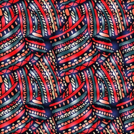 Naadloos patroon - heldere abstracte tekening in krabbelstijl. De illustratie bevat transparantie en effecten.