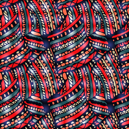 Seamless pattern -  bright abstract drawing in doodle style.  The illustration contains transparency and effects. Vectores