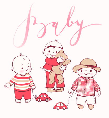 cute baby girls: Cute cartoon baby boys and girls with toys.  Hand-drawn illustration.  Vector set.