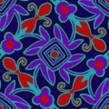punto de cruz: Seamless pattern - decorative floral embroidery. Cross-stitch. Vector illustration Vectores