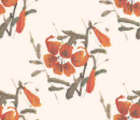 tiger lily: Seamless pattern - decorative floral embroidery. Tiger lily. Cross-stitch. Vector illustration