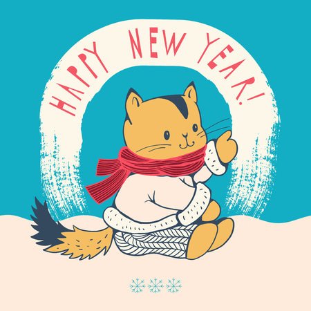 new year cat: Greeting Card Happy New Year with a cartoon cat. Hand-drawn illustration. Vector.