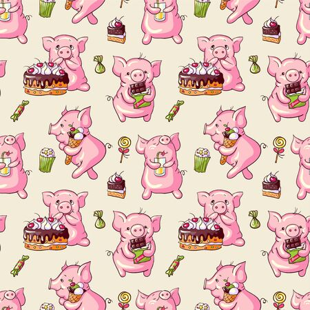fruitcake: Seamless pattern  -  cartoon pigs and sweets. Hand-drawn illustration. Vector.