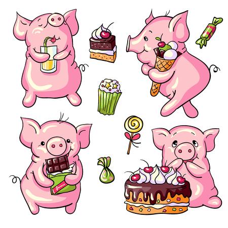 fruitcake: Vector set -  cartoon pigs and sweets. Hand-drawn illustration. Illustration