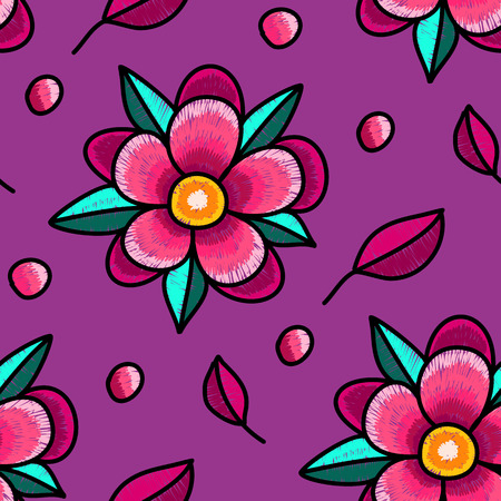 Seamless pattern - decorative  embroidery with bright flowers on a purple background.  Hand-drawn illustration. Vector.