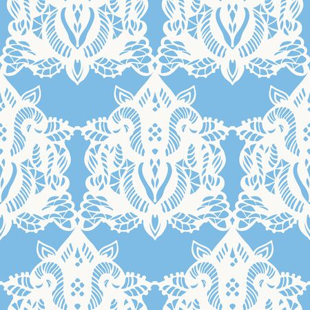 Seamless pattern with white lace on blue background. Hand-drawn illustration. Illustration