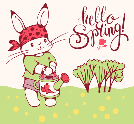 Vector illustration of cartoon Bunny with a watering can. Inscription Hello Spring!.