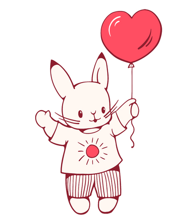 cute love: Hand-drawn illustration of funny cartoon Bunny with a balloon.  Vector Illustration