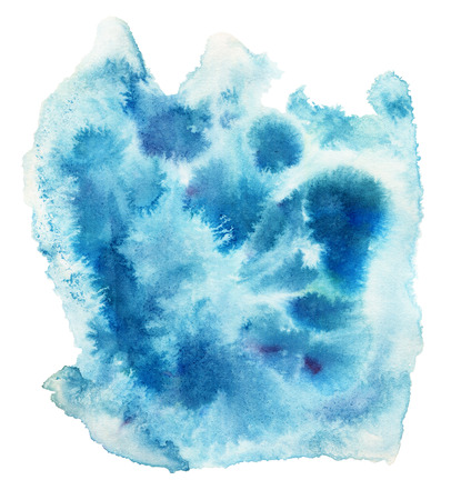 dabs: Blue watercolor spot, isolated on a white background. Hand-drawn illustration. Stock Photo