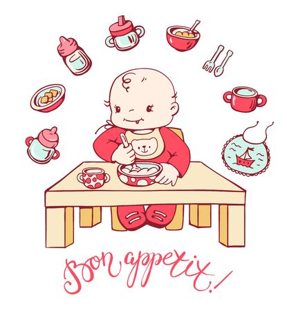 Cute baby is sitting at the table and is eating porridge.