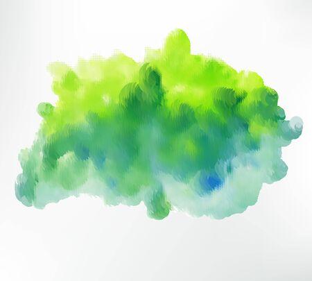 Green watercolor blot. Vector illustration.
