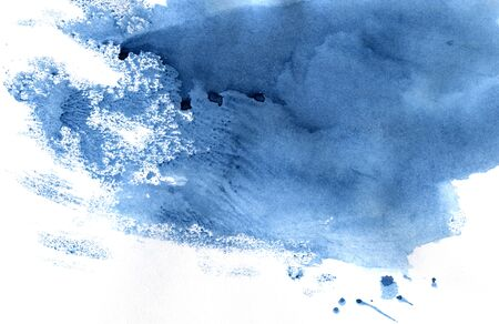 Watercolor background of indigo color. Hand-drawn illustration.