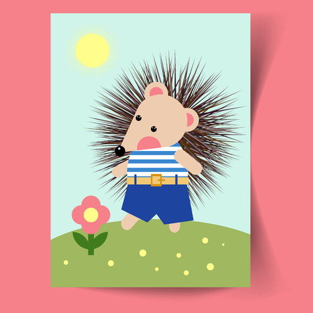 Postcard  with a hedgehog and a flower. Flat design. Vector illustration.