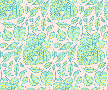 Abstract seamless pattern with green leaves. Vector illustration.