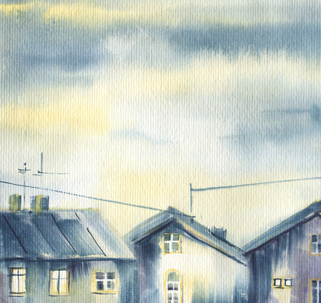Village landscape.  Old wooden house on a background of the cloudy sky.  Sketch  watercolor.