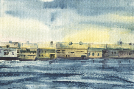 A small town on the banks of the river. A sketch with watercolor.  Hand-drawn illustration. Фото со стока