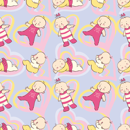 Seamless pattern in pastel tones -  cartoon babies.