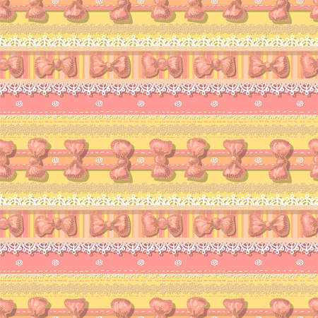 Seamless pattern- with laces and bows in pastel tones Stock Photo