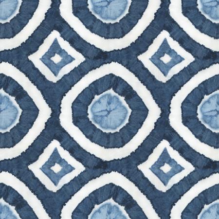 白い絹の藍色の絞り染めのシームレスなパターン。手絵画生地 - 結節性バティック。絞染色。