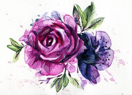 gently: Purple and blue flowers. Watercolor hand-drawn illustration.
