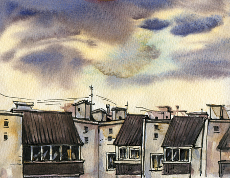 City landscape with homes and the evening sky.  Sketch ink and watercolor. Hand-drawn illustration. Фото со стока