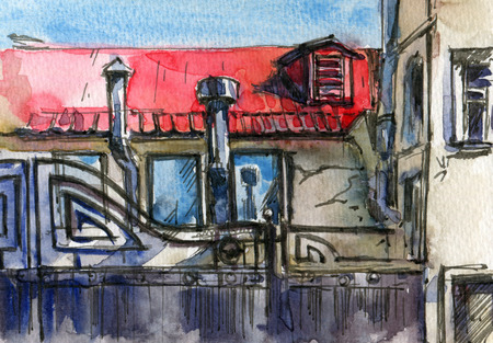 City sketches.  The roof of the house. Drawing ink and watercolor. Hand-drawn illustration.