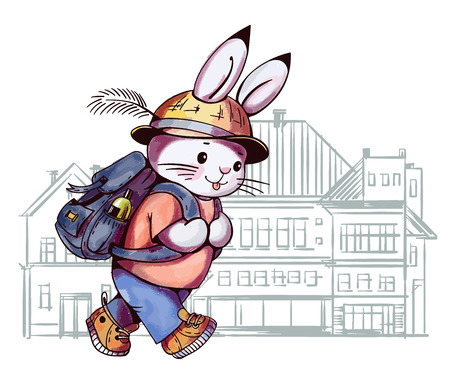 postcard background: Illustration of a cartoon Bunny with a backpack in the town. Hand-drawn illustration. Vector.