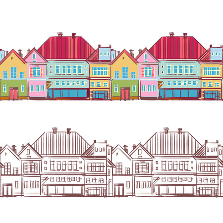 Seamless row of town houses.  Hand-drawn illustration. Vector.