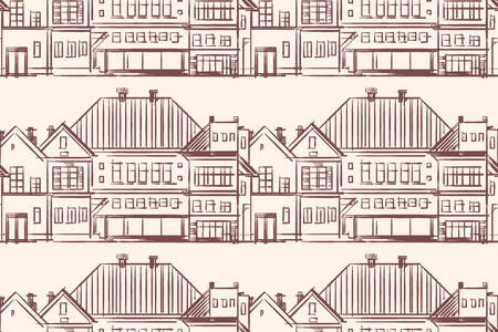 Monochrome seamless pattern with town houses. Hand-drawn illustration. Vector.