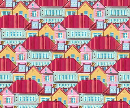 condo: Seamless pattern with  town  houses. Hand-drawn illustration. Vector.