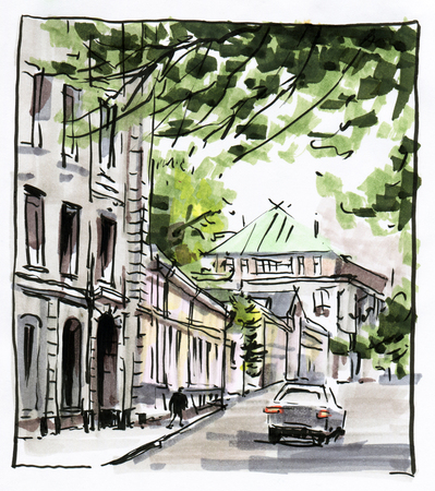 Urban sketch.  Street in the city centre. Drawing markers.