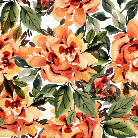 orange roses: Seamless pattern with watercolor roses. Hand-drawn illustration.