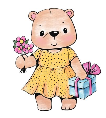 Teddy bear with gift and flowers  isolated on white background. Drawing with colored pencils