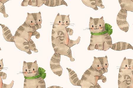 Modello senza cuciture - gattini divertenti del fumetto. Disegno di pennarelli e inchiostro. Illustrazione disegnata a mano Archivio Fotografico - 80132560