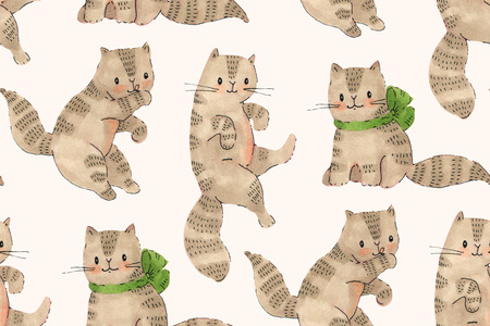 Naadloos patroon - grappige beeldverhaalkatjes. Markers en inkt tekenen. Handgetekende illustratie.