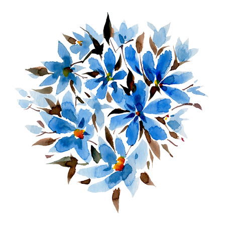 gently: Blue watercolor flowers isolated on a white background. Hand-drawn illustration. Stock Photo