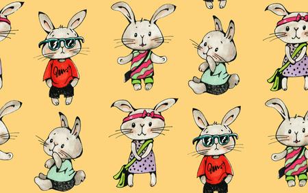 Modèle sans couture avec lapins drôle de bande dessinée sur un fond jaune. Dessin à l'aquarelle et à l'encre. Illustration dessinée à la main.