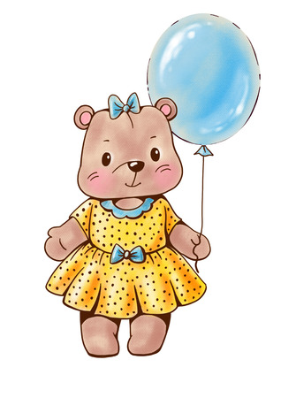 Teddy bear with a balloon  isolated on white background. Drawing with colored pencils Stock Photo