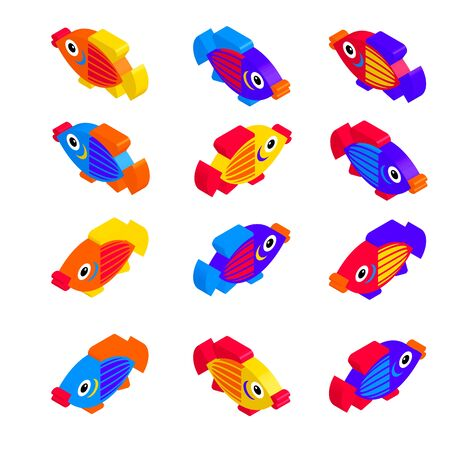 A set of colorful toy fish in isometric projection isolated on a white background. Vector illustration.