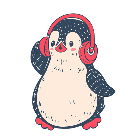 Winter illustration with funny cartoon penguin in the headphones. Vector.