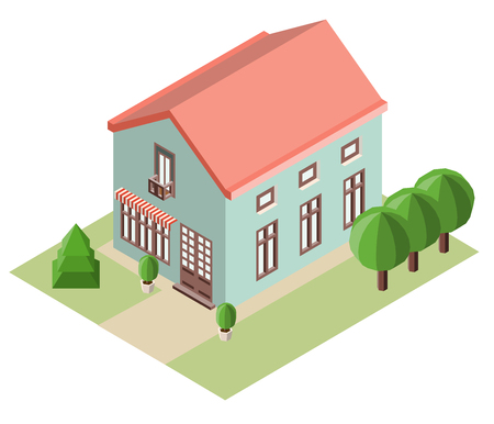 House and trees in the isometric projection. Vector illustration.